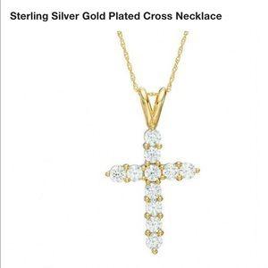 Sterling silver 925 CZ rhinestone cross necklace